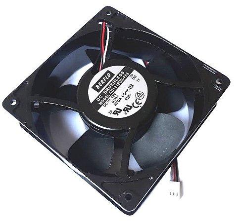 COOLER BERFLO 12V 120X120X38 - ROLAMENTO 0.70 AMP - 8.40 WATTS - 3200 RPM - 122,10 CFM 48,0 DB(A) - AD1212UBF53T