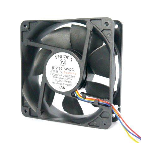 Cooler Nework 24V RT-120 16.112 120x120x38mm ROLAMENTO Amp.: 0,30 RPM: 2900 4 FIOS S/ CONECTOR