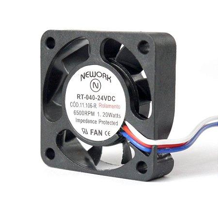 Cooler Nework 24V RT-040 11.106(R) 40X40X10mm ROLAMENTO Amp.: 0,06 RPM: 6500 3 FIOS C/ CONECTOR