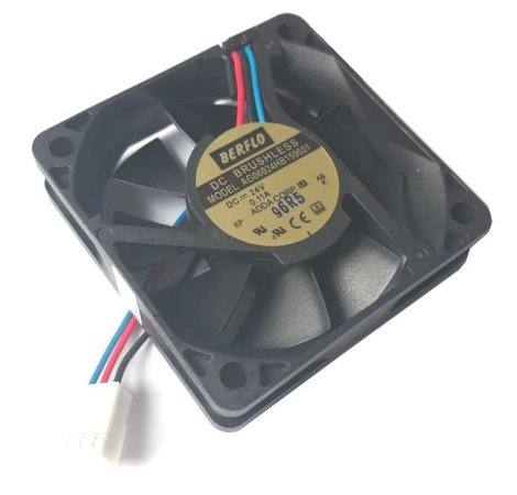 Cooler 60X60X15 - 24V - ROLAMENTO 0.11 AMP - 2.64 WATTS - 4500 RPM - 18.18 CFM 35.5 DB (A) - BERFLO 7684 AG06024HB159601