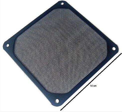 Grade de metal 140mm com tela de malha fina. Preta  MOD GRM140-AL01-BK