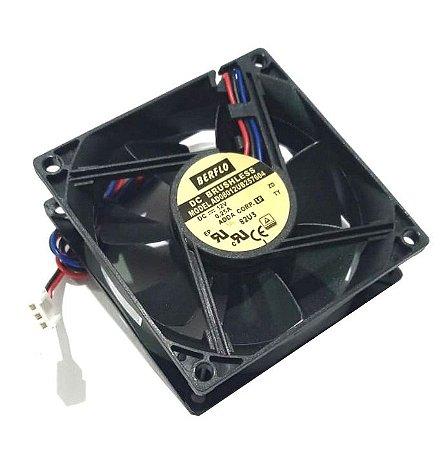 COOLER 80X80X25 12V - ROLAMENTO 0.25 AMP - 3.00 WATTS - 3400 RPM - 43,50 CFM 40,5 DB(A) - BERFLO - AD08012UB257604