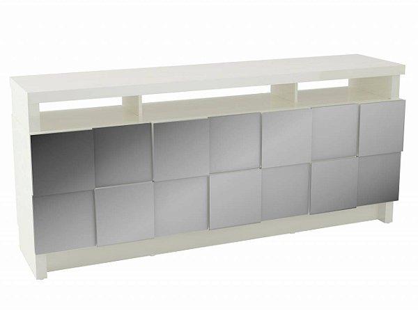 BALCAO/BUFFET 176CM QUADRICULADO 3D - OFF WHITE/ESPELHO TB282E WW