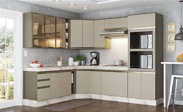 Cozinha Modulada Connect 17 Portas 02 Gavetas Henn - Duna/Cristal