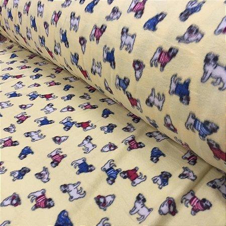 Soft Estampado Pugs Amarelo