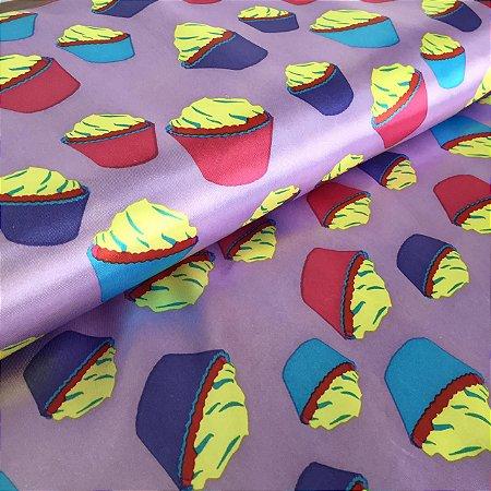 Cetim Estampado Cupcakes