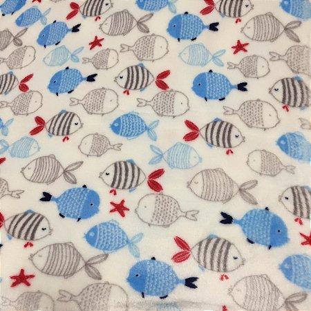 Fleece Estampada Peixinhos Azuis