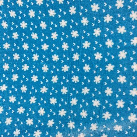 Fleece Estampada Florzinha Fundo Azul