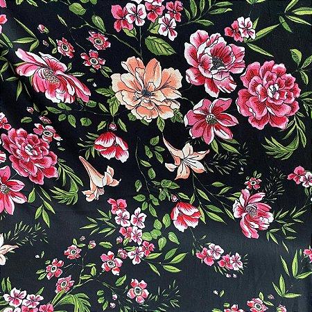 Malha Suede Estampada Floral Fundo Preto