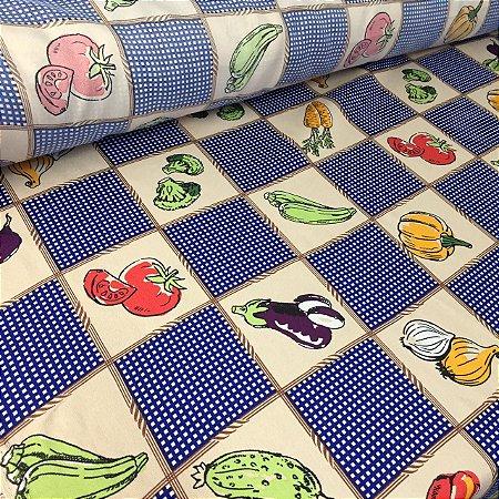 Oxford Estampado Legumes Azul