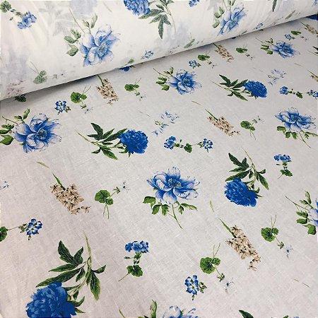 Linho Natural Estampado Flor Azul