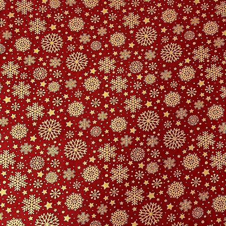 Tricoline Estampada Flocos de Neve Vermelho