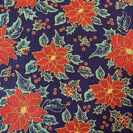 Tricoline Estampada Flor de Guirlanda Marinho