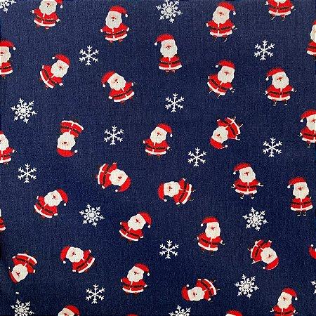 Tricoline Estampada Papai Noel Azul