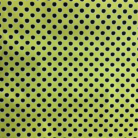 Tricoline Estampada Poá Grande Amarelo e Preto