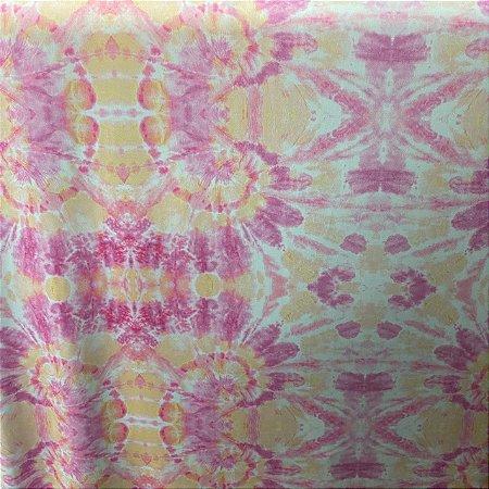 Suplex Praia Estampada Tie Dye Rosa e Amarelo