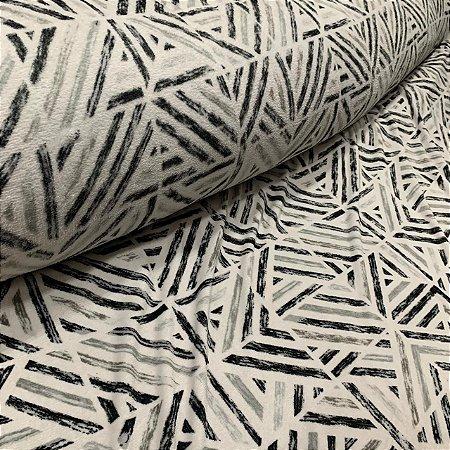Fleece Estampada Geométrica Cinza