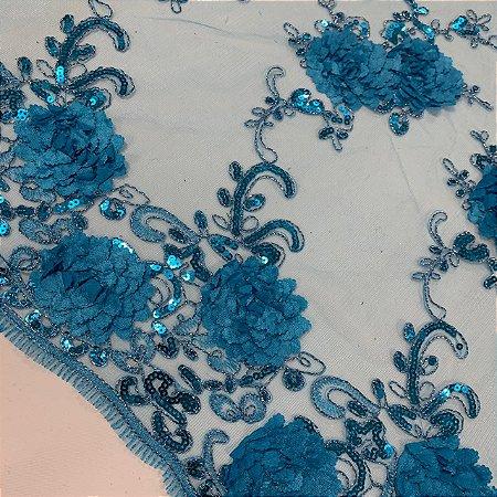 Tule Bordado Flor Azul