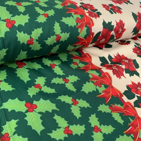 Oxford Estampado Laços de Natal