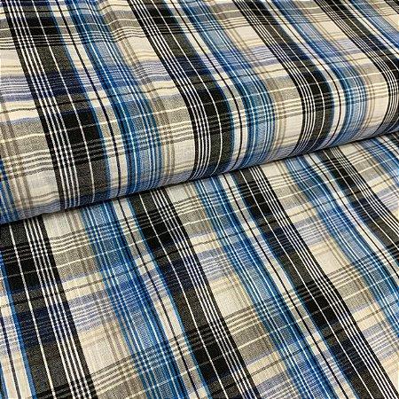 Tricoline Estampada Xadrez Tricolor Azul