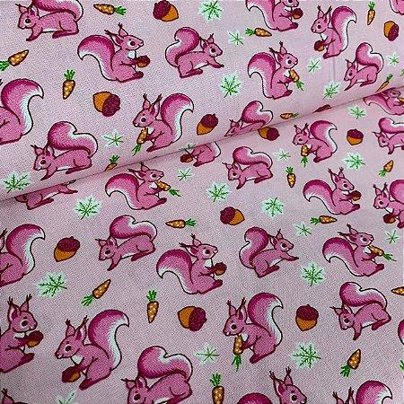 Tricoline Estampada Esquilo Rosa