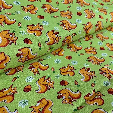 Tricoline Estampada Esquilo Verde