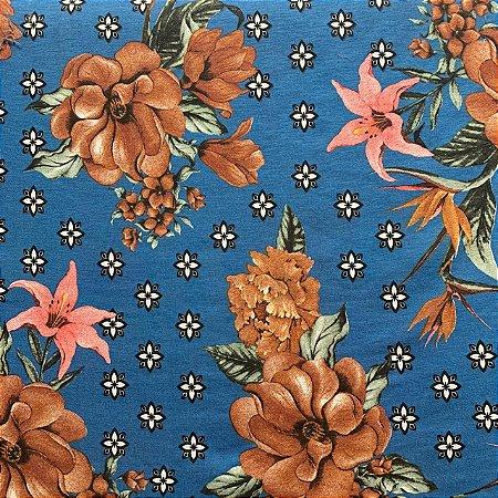 Viscolycra Estampada Floral Royal