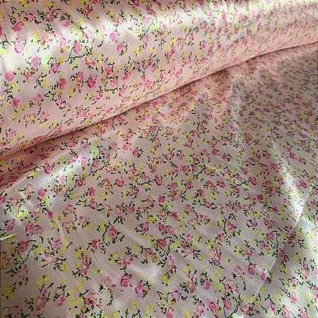 Cetim Estampado Floral Delicado Rosa