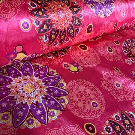 Cetim Estampado Mandala Rosa