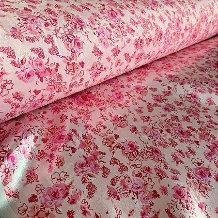 Cetim Estampado Rosas no Rosa
