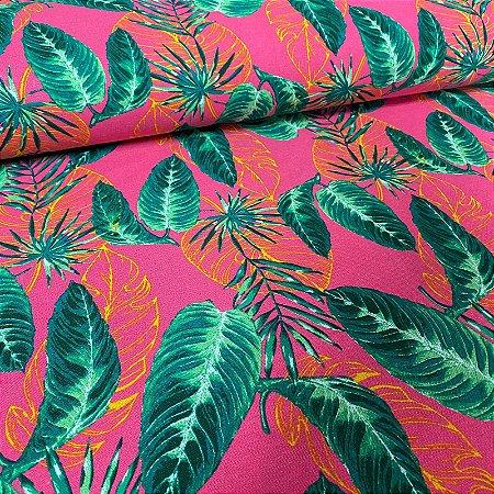 Linho Verano Estampado Folhas Rosa