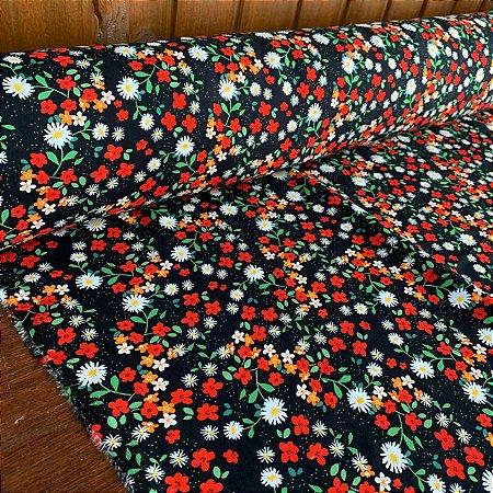 Viscose Estampada Floral Delicado Preto