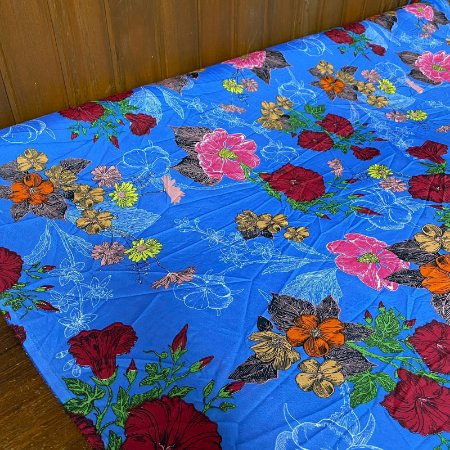 Crepe Indiano Floral em Azul