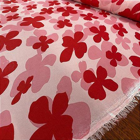 Crepe Chiffon Estampado Floral Rosa