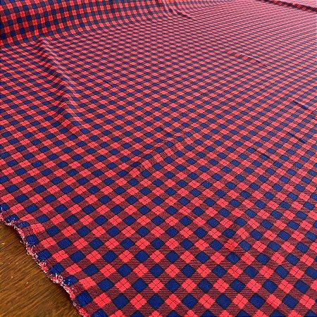 Crepe Chiffon Estampado Xadrez Vermelho e Azul