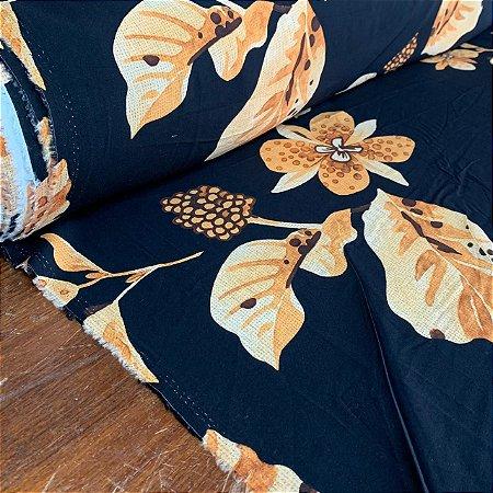 Viscose Estampada Flores Secas Marinho