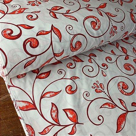 Percal 150 Fios Estampado Folhas Vermelhas
