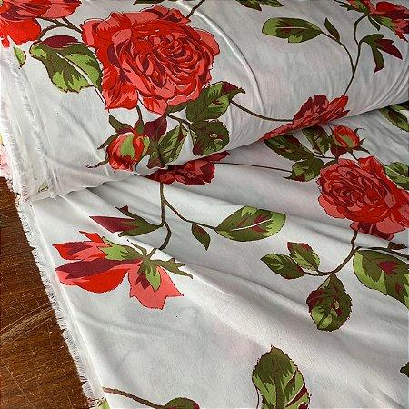 Percal 150 Fios Estampado Flor Vermelha