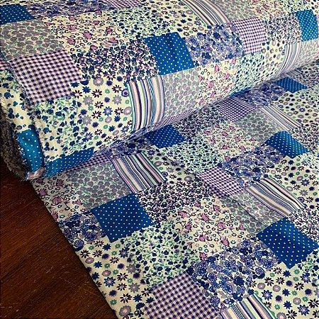 Percal 150 Fios Estampado Patchwork Azul