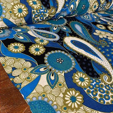 Viscose Estampada Mandala Floral Royal