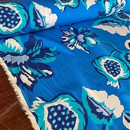 Viscose Estampada Florescer Azul