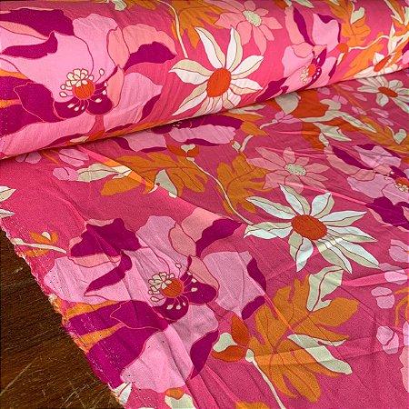 Viscose Estampada Vetor Floral Rosa