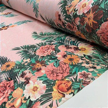 Viscolycra Estampada Barrada Floral Colorida