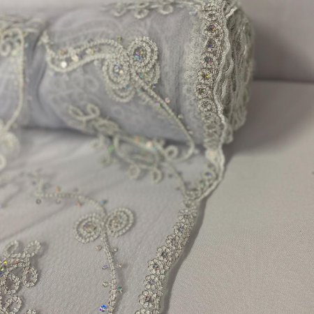 Tule Bordado Glamour Branco