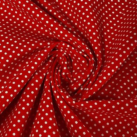 Tricoline Vermelho com Poa Branco