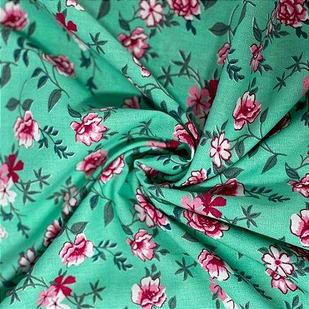 Tricoline Floral Fundo verde com Flores Rosa