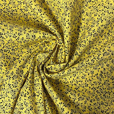 Tricoline Estampada Fundo Amarelo Com Florzinha Preta