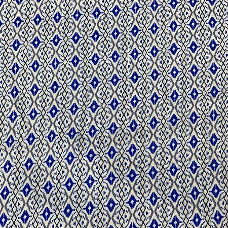 Viscose Estampada com Azul Miúdo