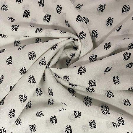 Viscose Estampada Branca Com Preto