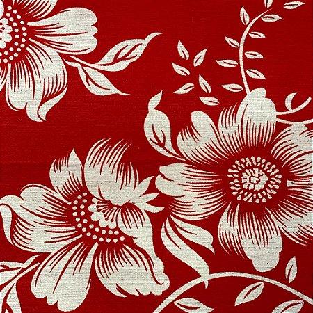 Gorgurão Floral Vermelho e Branco